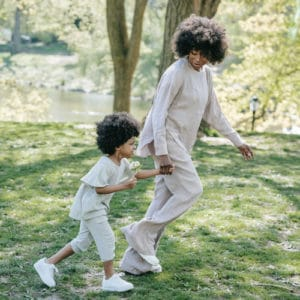 mom and daughter playing